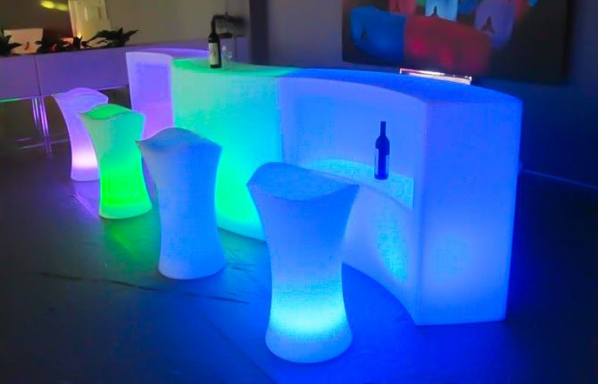 Illuminated bar stools with curved bar hire melbourne