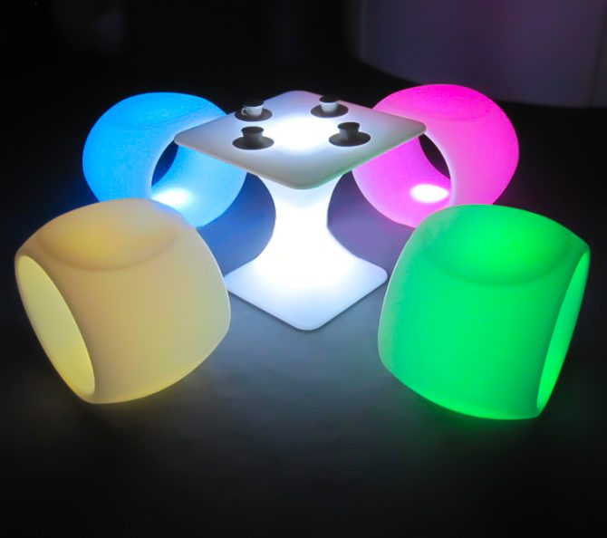 Illuminated hollow stools with square coffee table hire melbourne