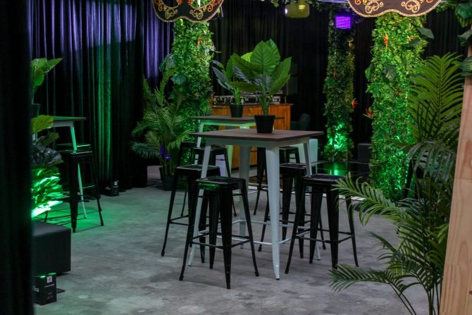 Tolix bar table in jungle setting hire melbourne