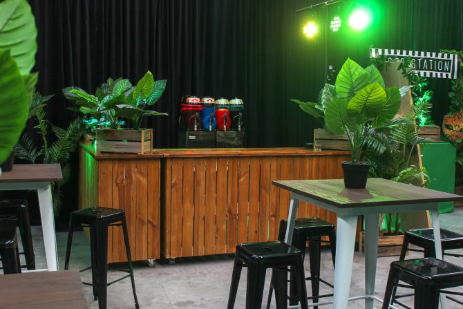 Wooden bar hire in jungle theme hire melbourne