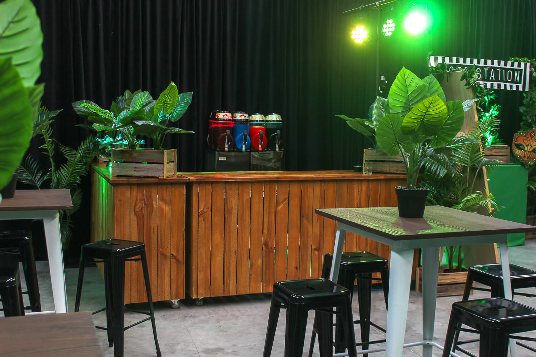 Wooden bar hire in jungle theme hire melbourne