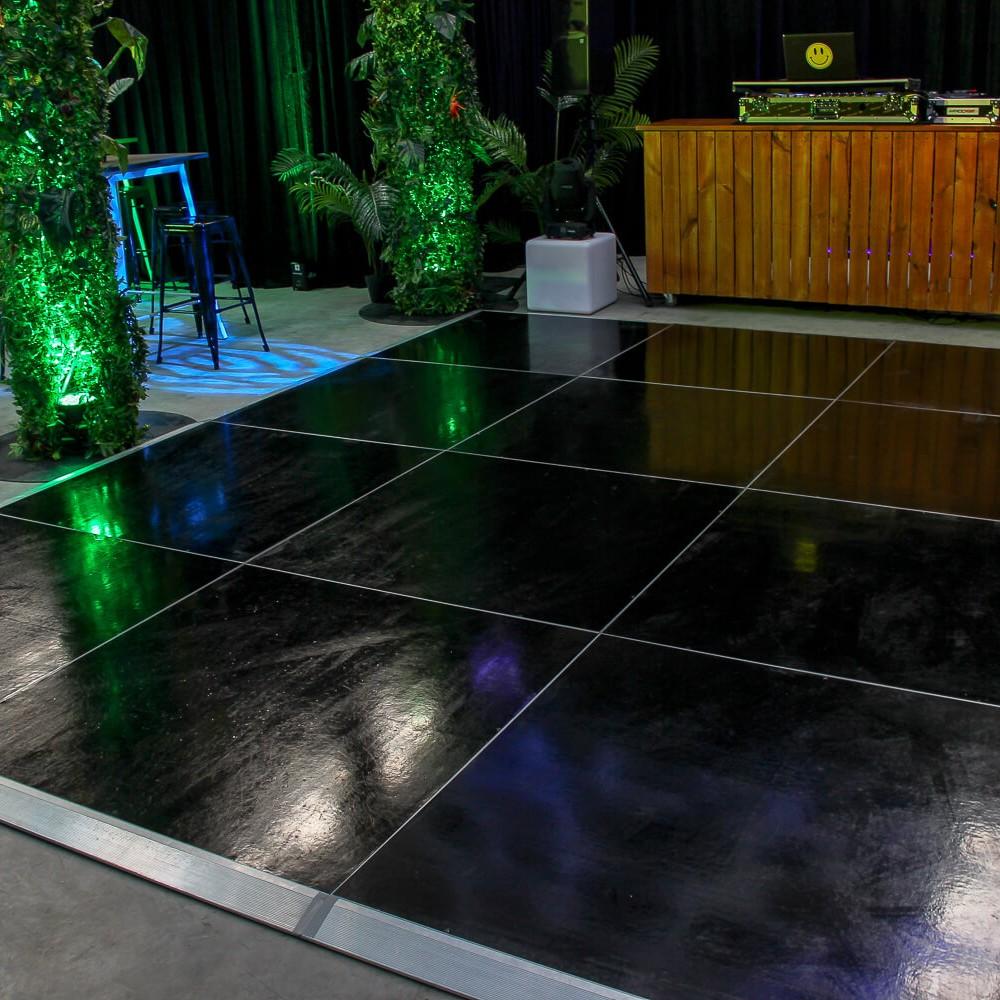 black dance floor hire melbourne green uplighting