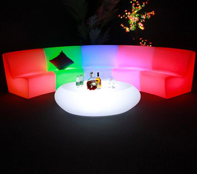 curved illuminated sofa seating furniture hire melbourne