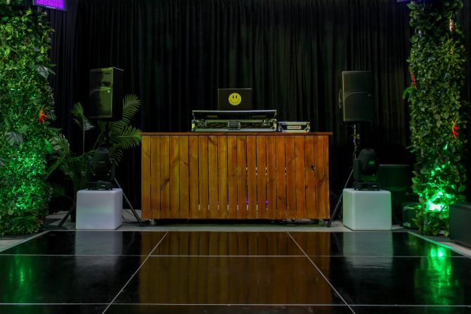 dancefloor with wooden dj booth hire melbourne