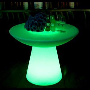 glowing green illuminated mushroom low bar table hire melbourne