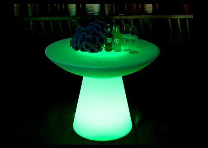 glowing green illuminated mushroom low bar table hire melbourne