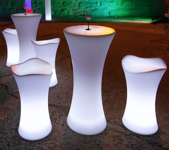 illuminated bar table with bar stools hire melbourne