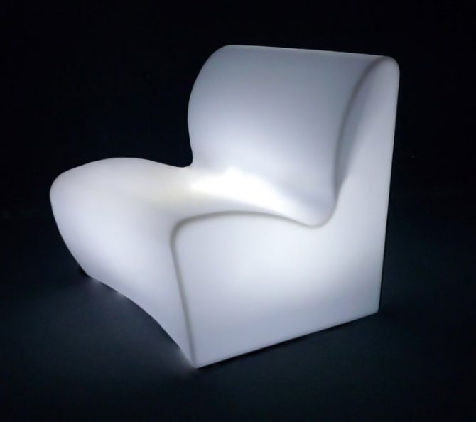 illuminated curved sofa glowing furniture for hire melbourne