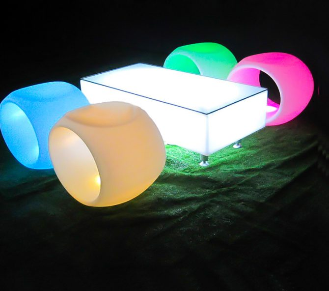 illuminated hollow stools with rectangle glowing coffee table hire melbourne