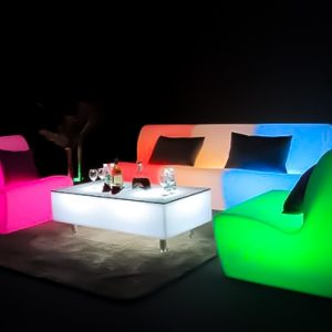 illuminated sofa with glowing rectangle coffee table hire melbourne