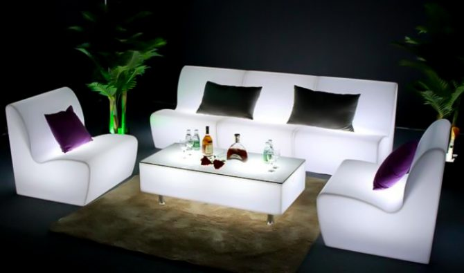 illuminated sofa with glowing rectangle coffee table in white glow hire melbourne