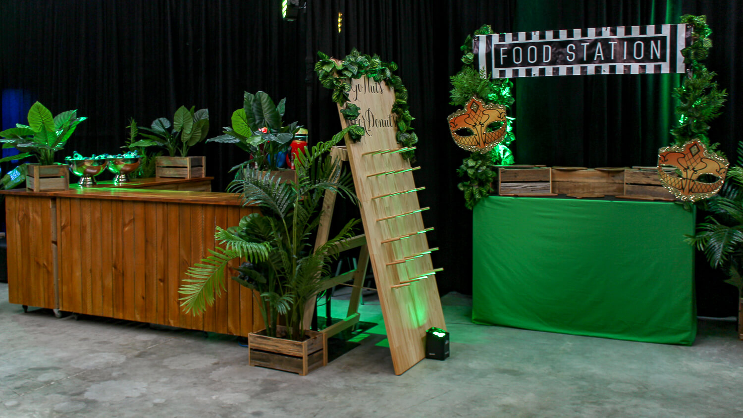 jungle themed bar and food station hire melbourne