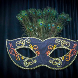 masquerade mask prop with peacock feathers hire melbourne