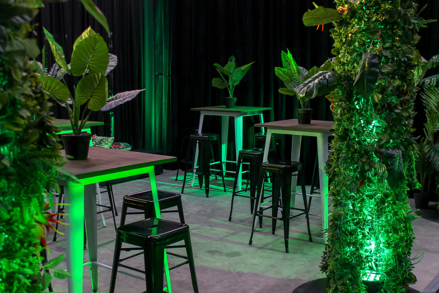 tolix bar tables in green jungle theme hire melbourne