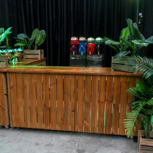 wooden bar in jungle theme hire melbourne