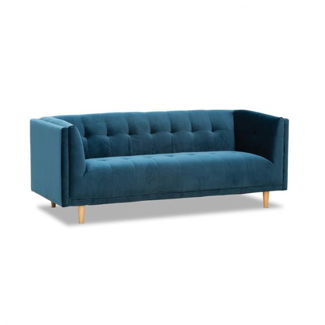 Sienna Velvet 3 Seater Sofa Hire Melbourne - Blue - Feel Good Events