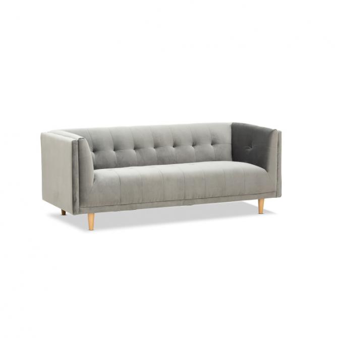Sienna Velvet 3 Seater Sofa Hire Melbourne - Grey - Feel Good Events