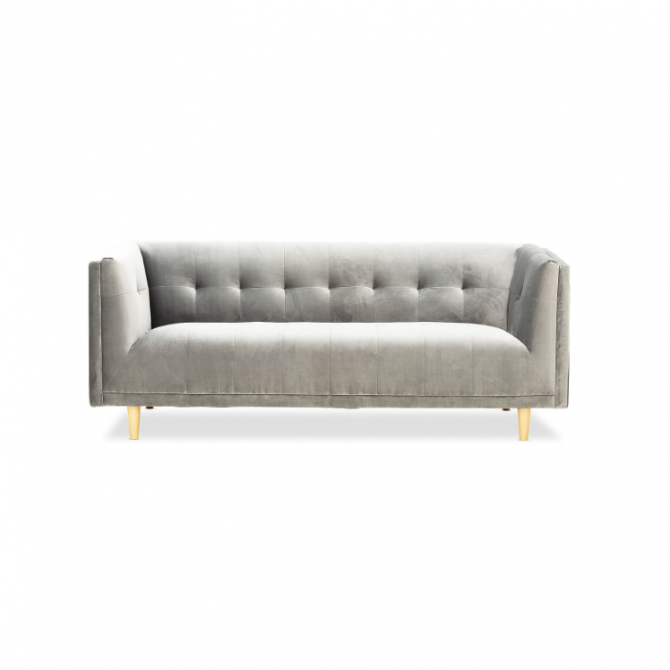 Sienna Velvet 3 Seater Sofa Hire Melbourne - Grey - Front View - Feel Good Events