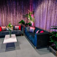 dusty pink crushed velvet draping with sofa setting hire melbourne