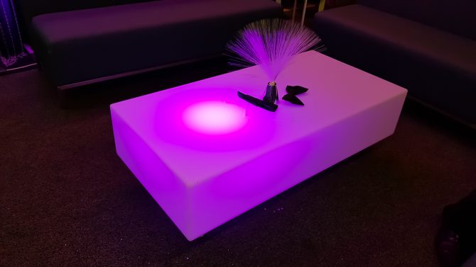 purple glow led coffee table feel good events