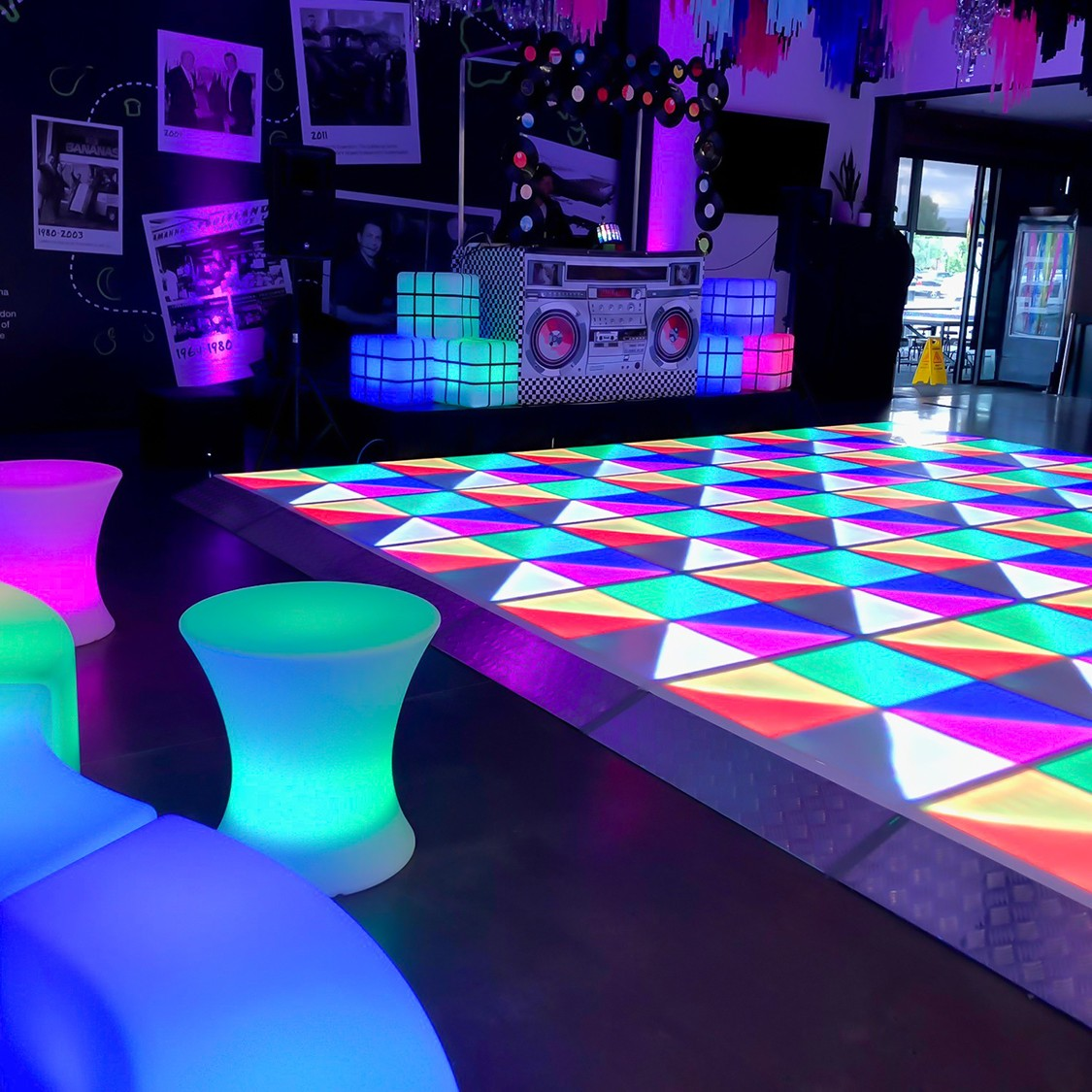 disco themed melbourne event with light up dance floor and furniture feel good events