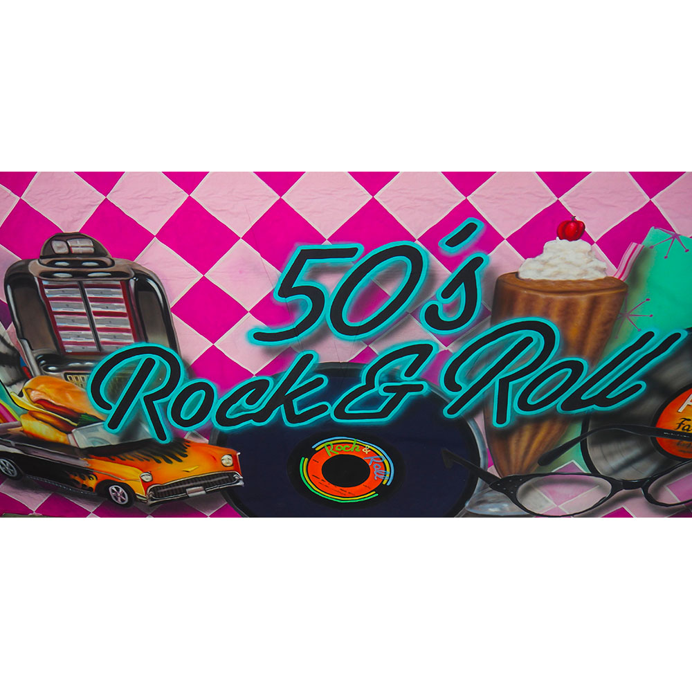 Large Rock and Roll Backdrop Hire Melbourne