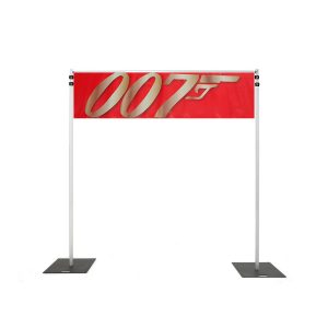 Backdrop Rigging with red 007 banner hire melbourne