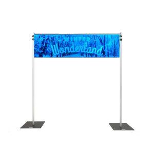 Backdrop Rigging with winter wonderland dark banner hire melbourne