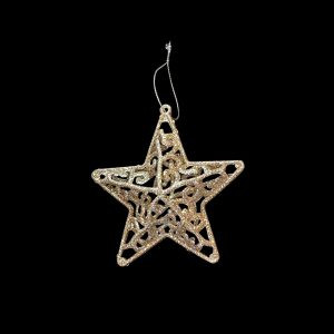 Christmas Ornaments hire - Gold Star - mesh