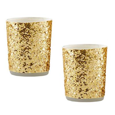 gold glitter tea light candle holder