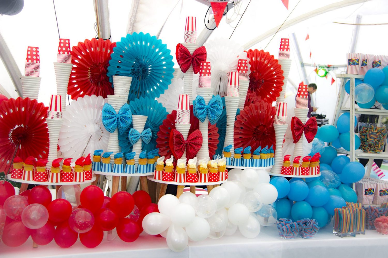 bar mitzvah decorations red and blue