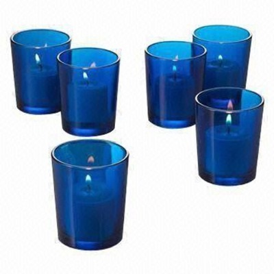 Blue Tea light candle holders, tea light holders for hire