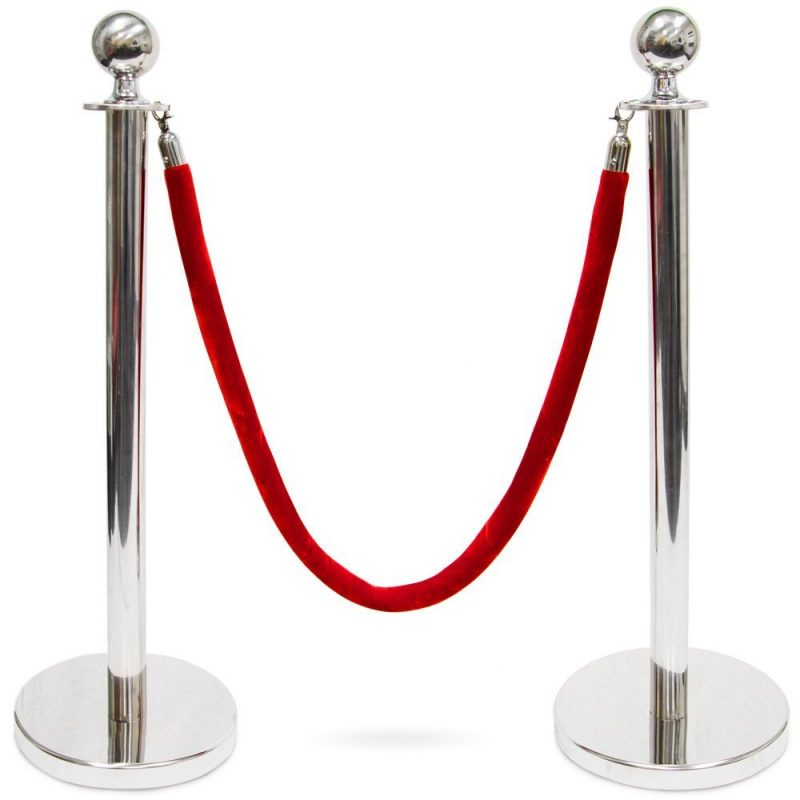 silver stanchion with red rope