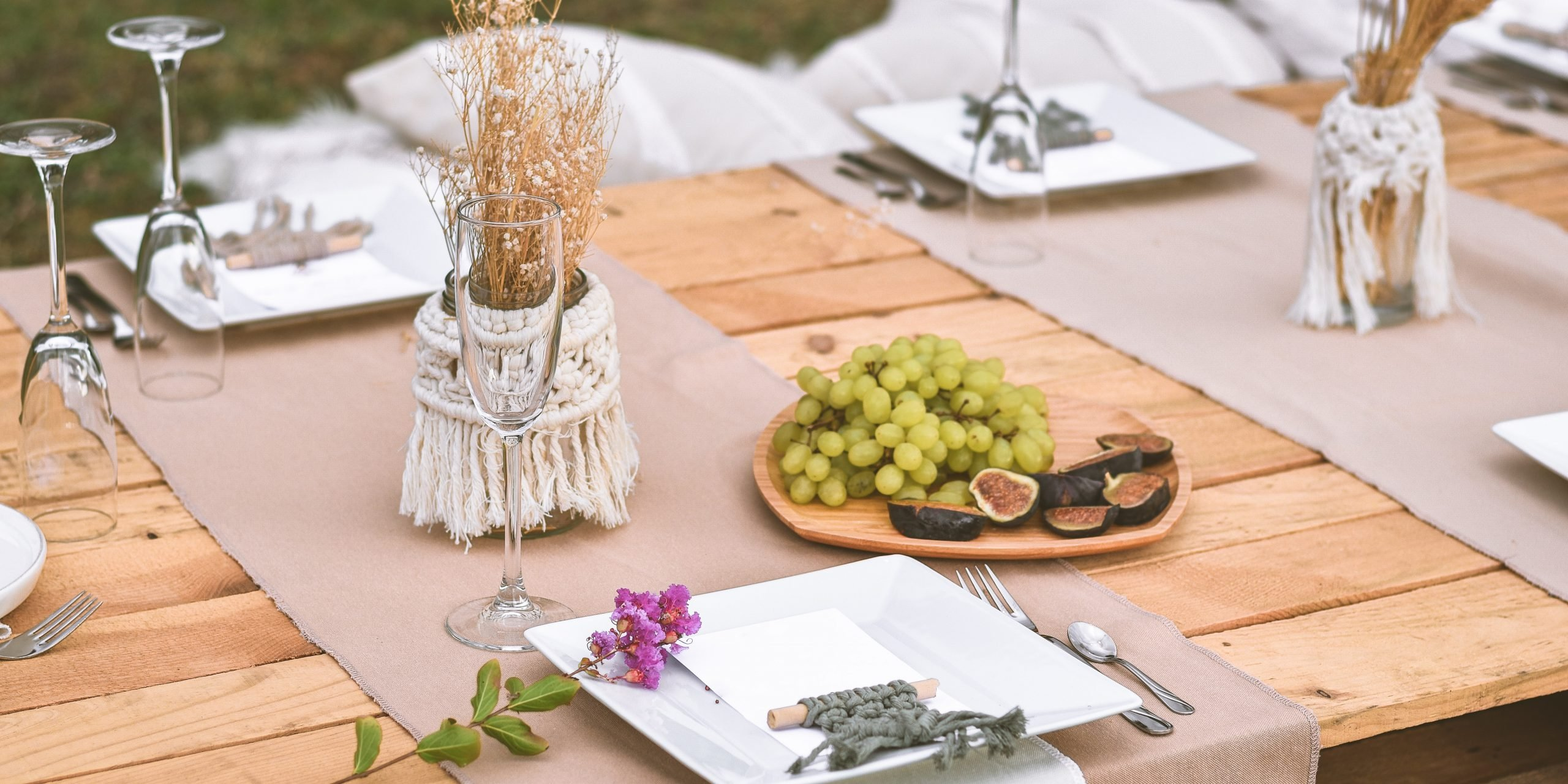 rustic outdoor low table setting