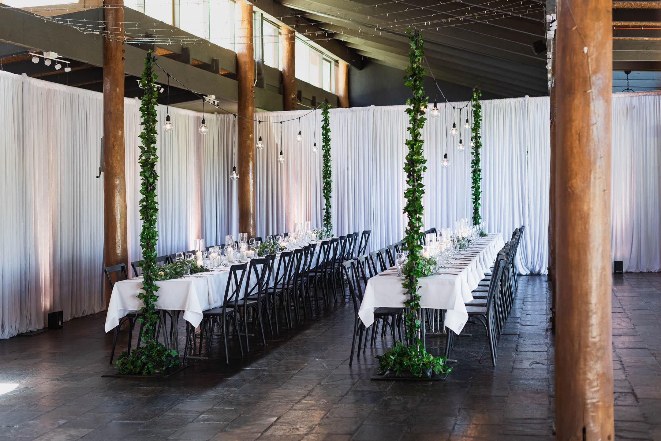 Fergusson winery wedding with festoon lighting