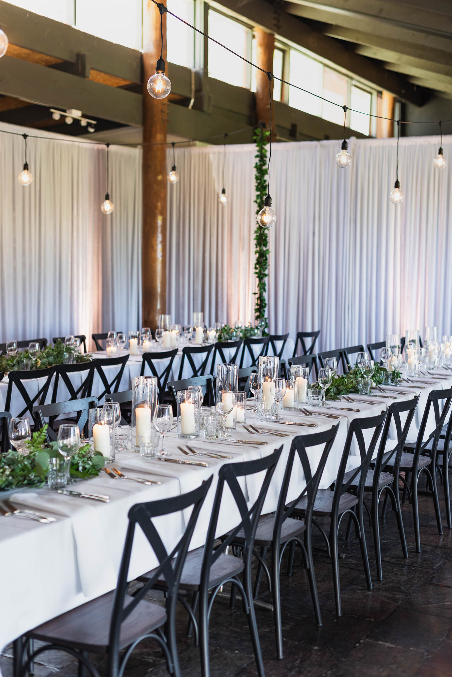 Fergusson winery wedding with long tables