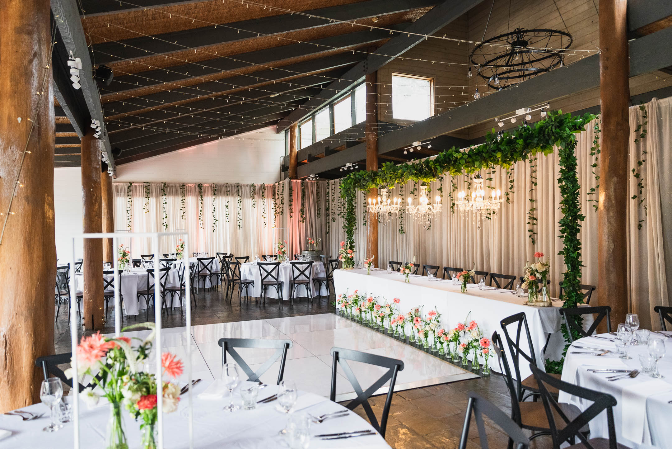 Fergusson winery wedding with fairy light curtain
