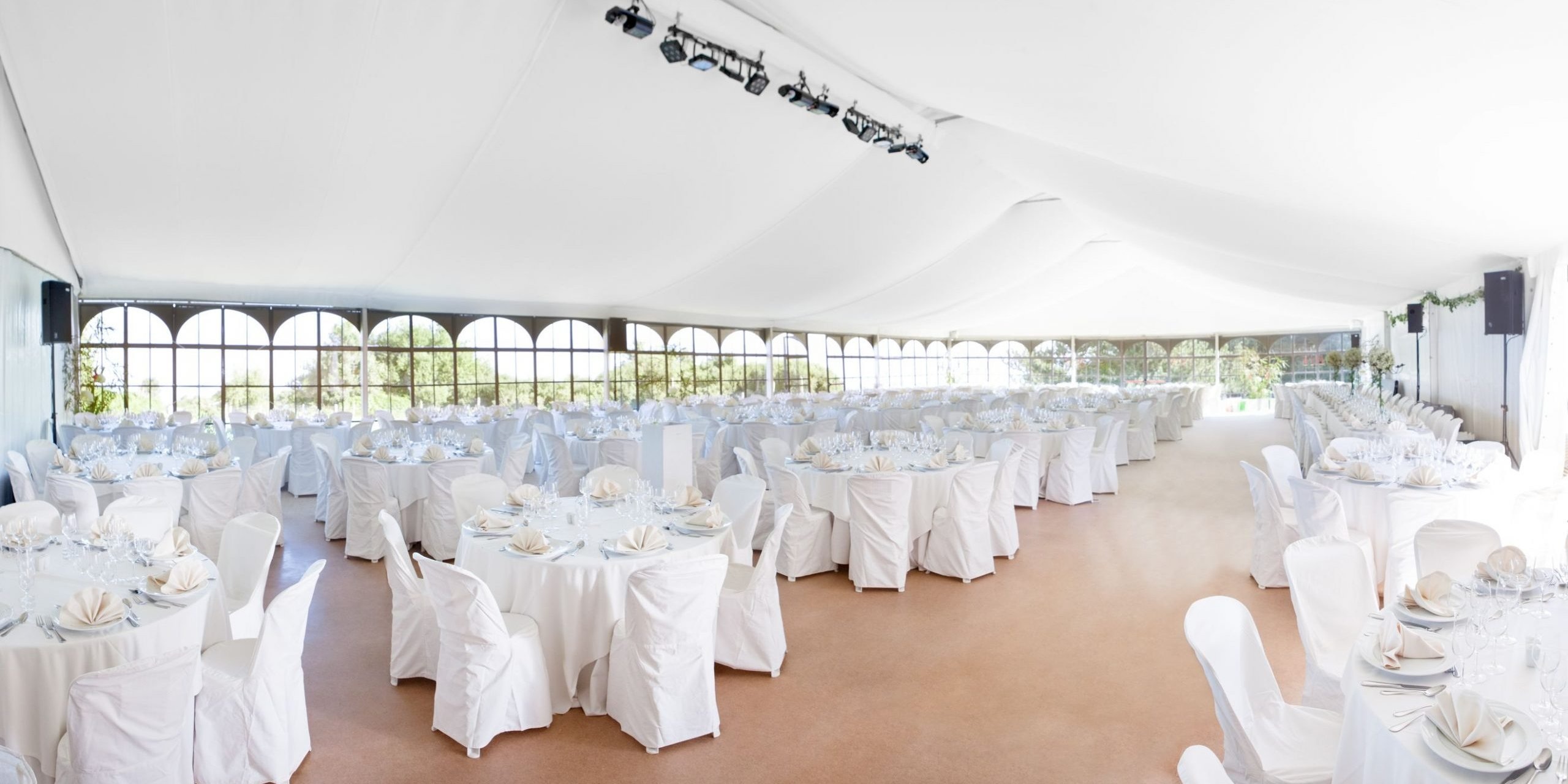 marquee set up with silk roof lining in white