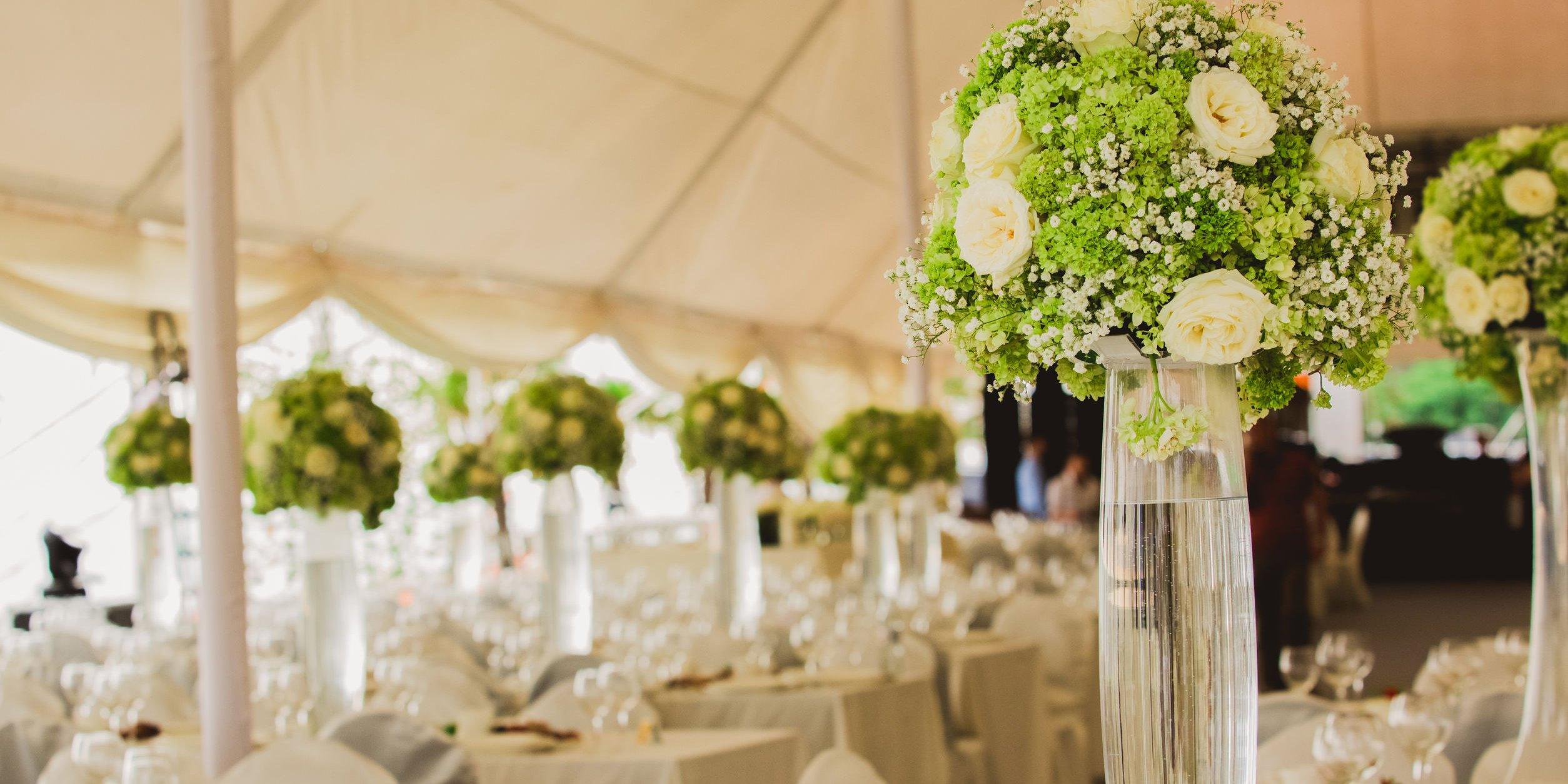 wedding set up in garden inside beach. Closeup of flowers