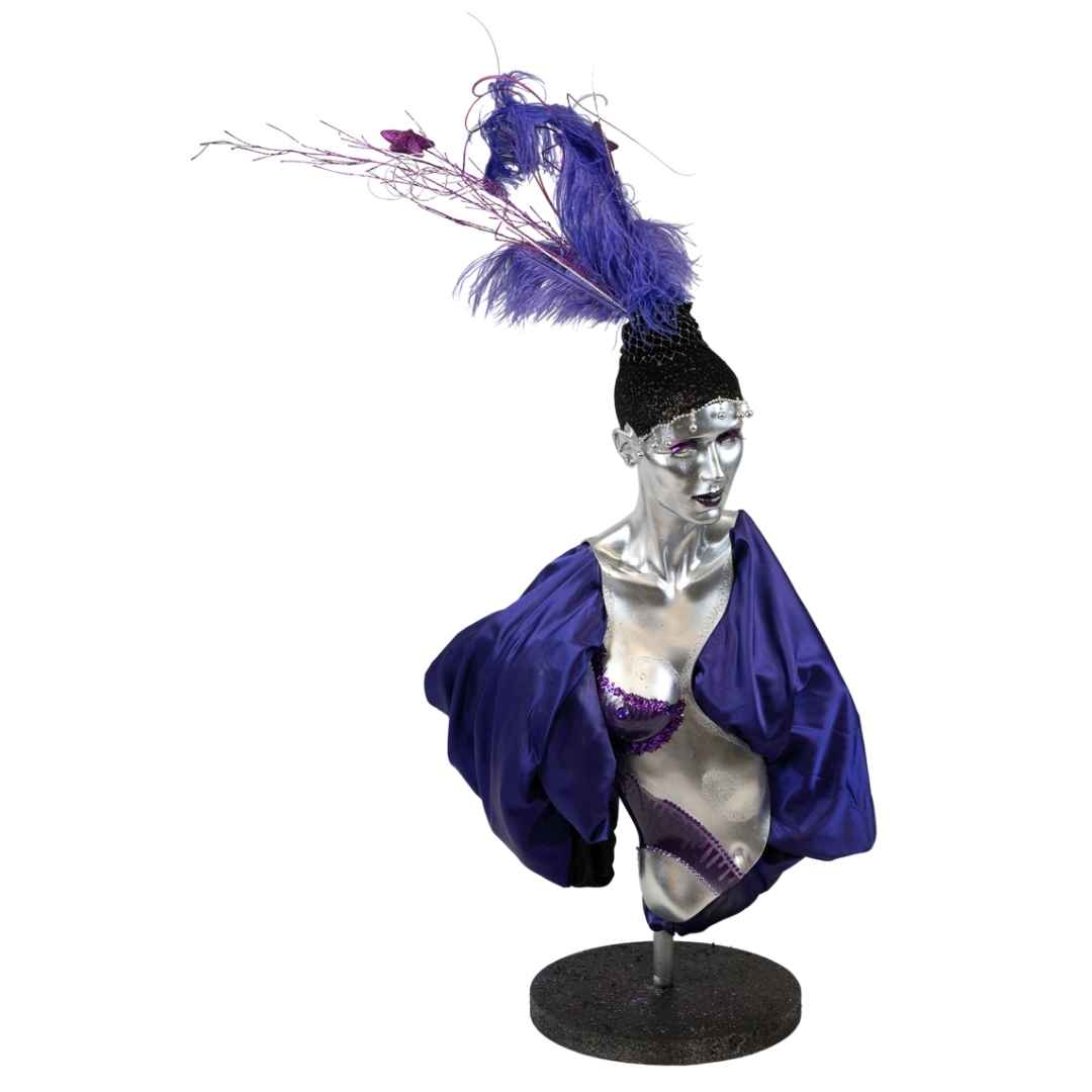 mannequin-purple-feather-style2-hire-melbourne-feel-good-events