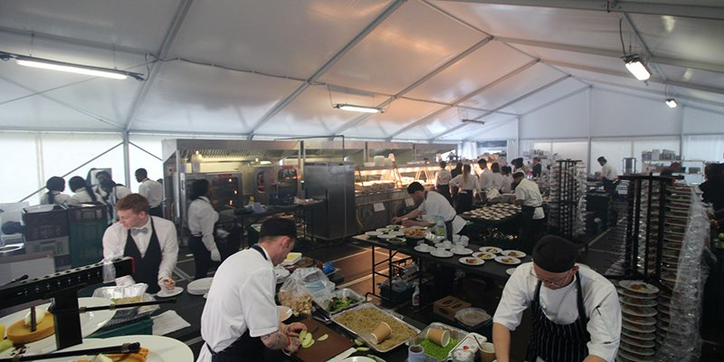 marquee used as a kitchen for an event