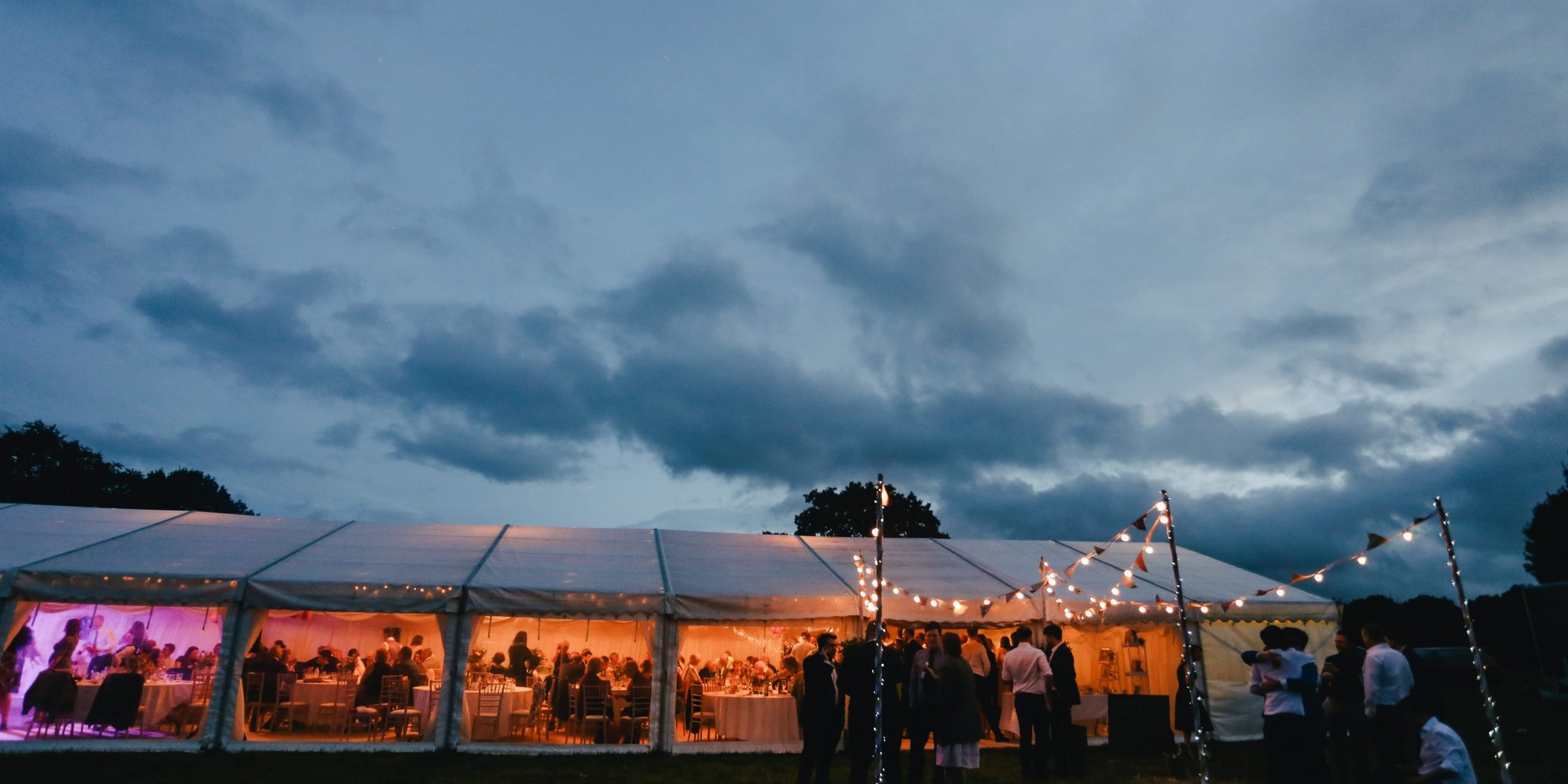 marquee set up for wedding on property in country