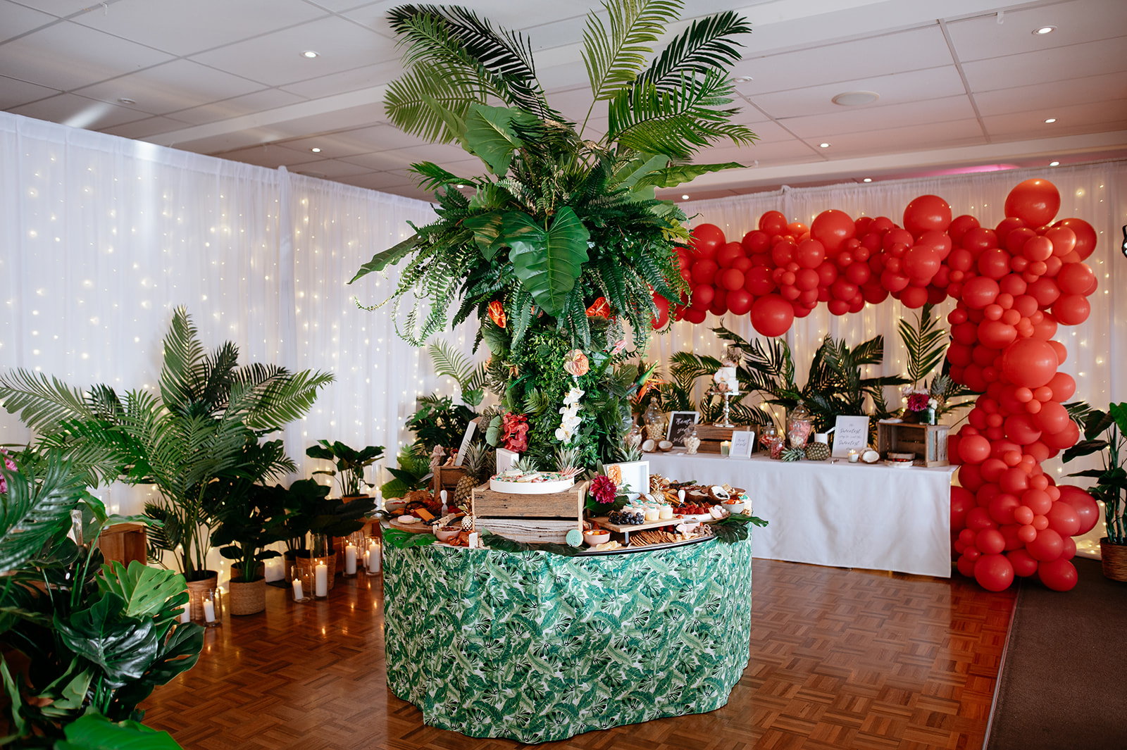grazing table for tropical style wedding
