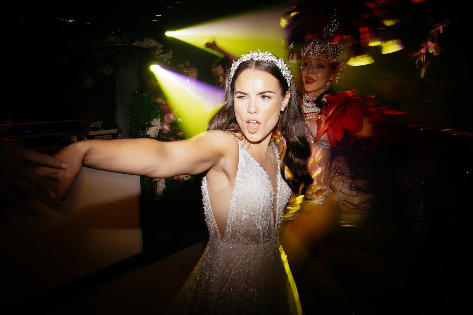 cocktail style wedding, bride dancing